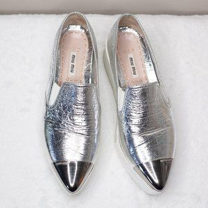 Miu Miu Cap-Toe Metallic Platform Slip-On Sneakers